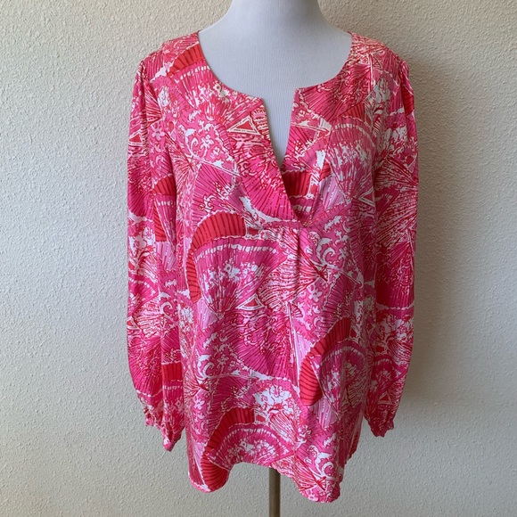 Lilly Pulitzer Tops - Lilly Pulitzer ELSA Top Blouse Poolside 100% Silk